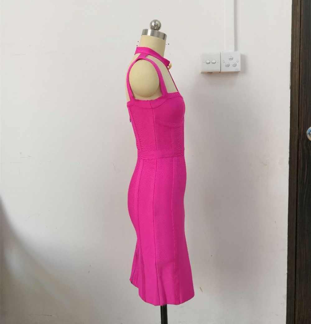 Nouveauté été Style Sexy découpé bouton robe de pansement 2018 célébrité concepteur robe de mode Vestidos