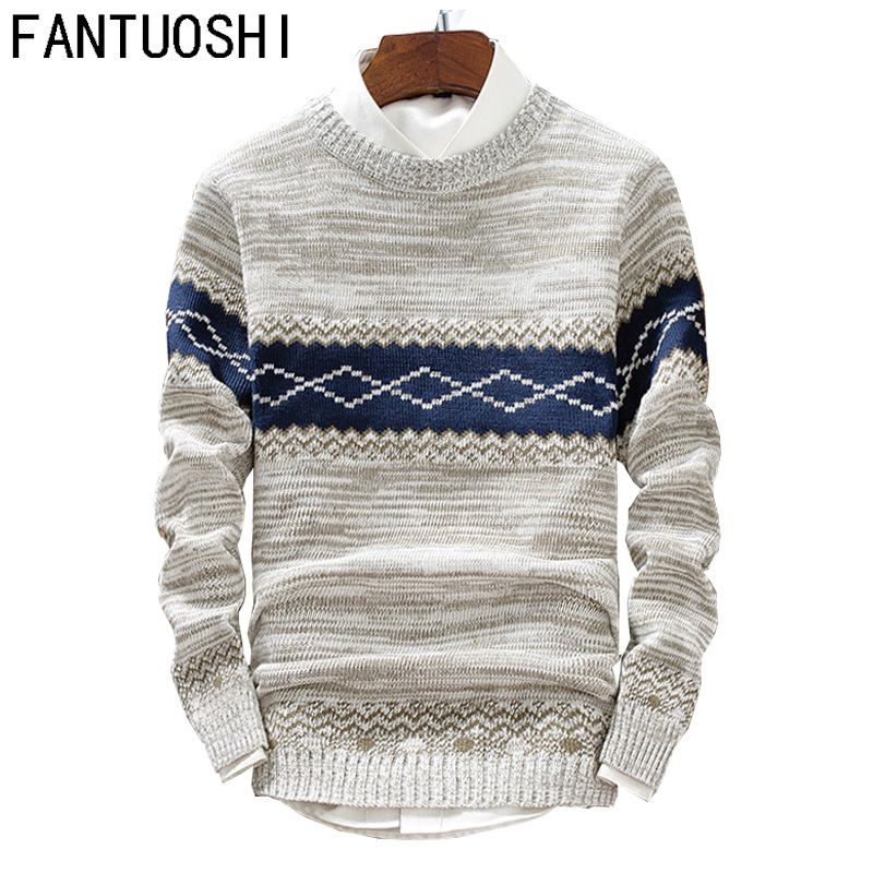 2019 Autumn Sweaters Men O-Neck Hip Hop Casual Pullover Sweater Male Fashion Slim Long Sleeve Knitted Sweaters Beige Black XXL