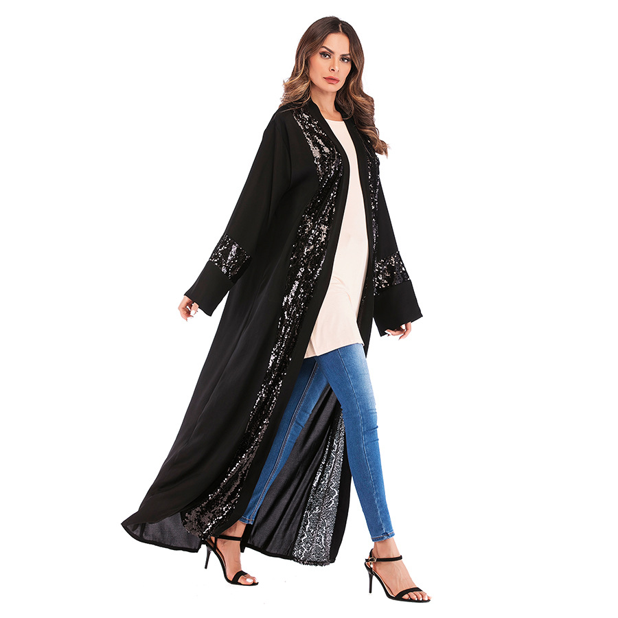 Long   Trench   For Women Clothing Loose V-Neck Sequined   Trench   Coat With Sashes Patchwork Spring Autumn Windbreaker Female TP1678