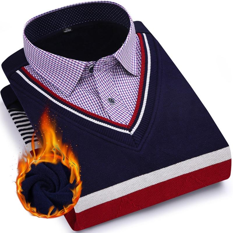 Erkek Kıyafeti'ten Frak Gömlekler'de Erkekler Uzun Kollu Gömlek Pamuk Erkek Moda Sahte Iki Set Iş Elbise Gömlek Kalınlaşmak Kadife Erkek Giyim XXXXL XXXL XXL GRI KıRMıZı'da  Grup 1