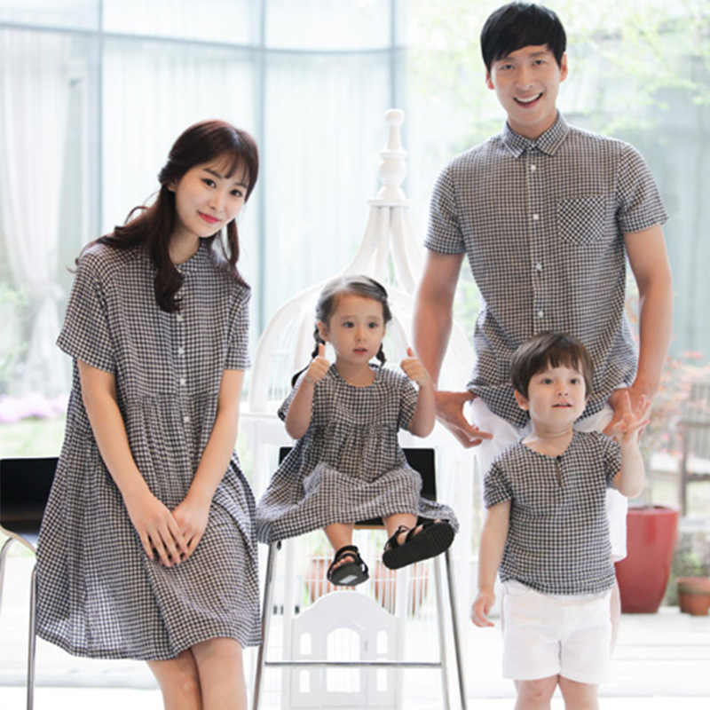 4bf46aefe76d Мамы и ребенка комплекты одежды для мамы и ребенка рубашка брат и сестра  летние Семья папы
