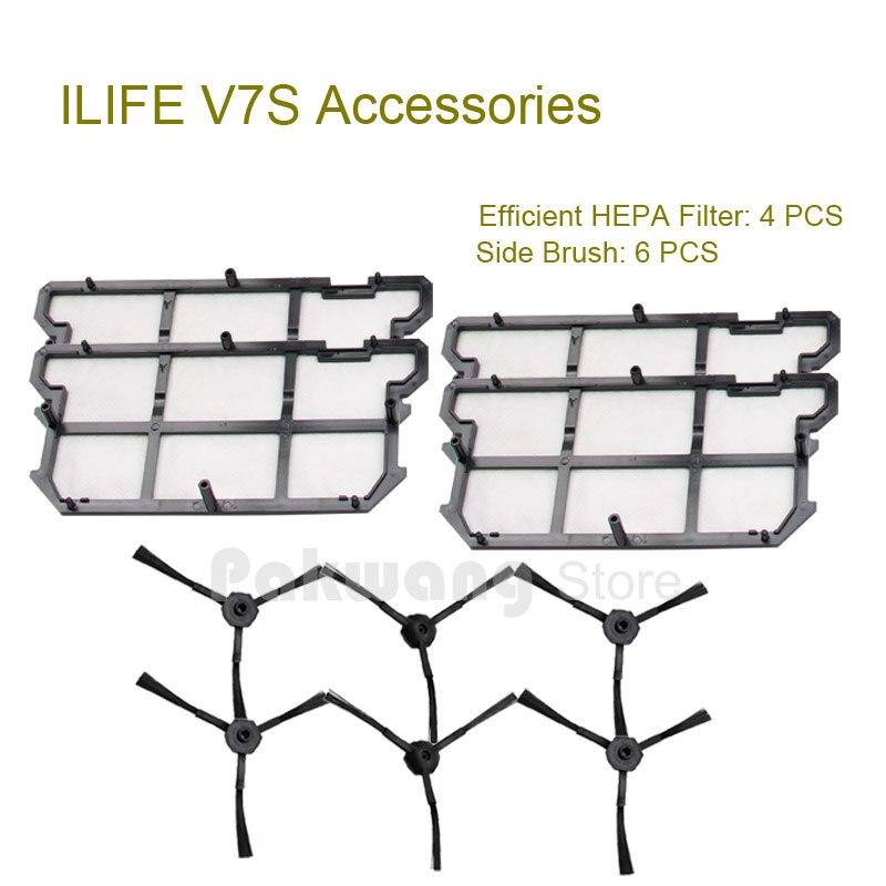 ILIFE V7S Efficient HEPA Filter 4 Pcs And Side Brush 6 Pcs Of Original ILIFE V7S