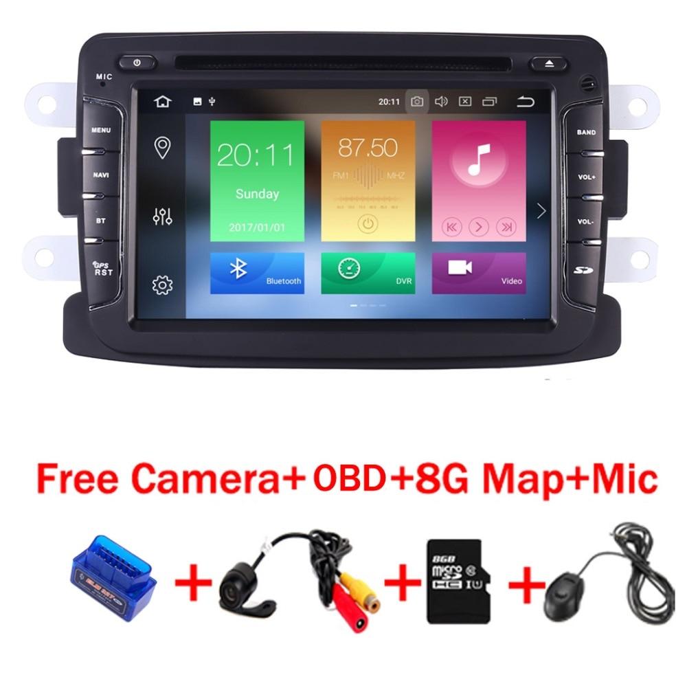 4g + 32g 7 pouce Android 8.1 Lecteur DVD de Voiture Pour Renault Dacia Sandero Duster Lada Xray 2 logan 2 4g WIFI GPS Navigation Radio OBD