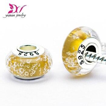 Dije de burbuja amarilla Murano para pulsera, cuentas de vidrio plateadas de...