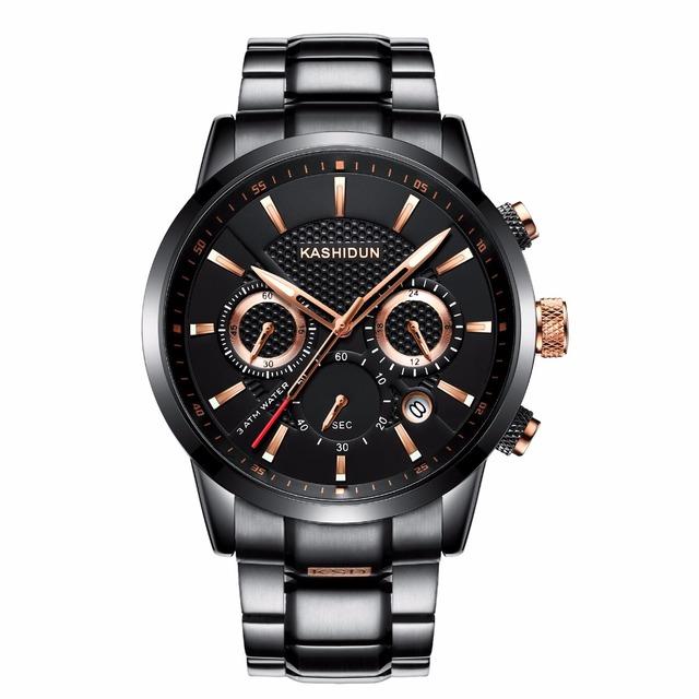 Reloj luminoso de lujo con diseño militar de acero inoxidable