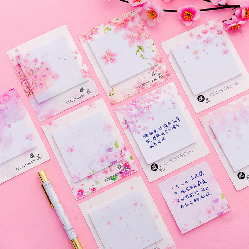 2 Pcs/Lot Plants Pink Cherry Blossoms Memo Pad Sticky Notes Paper Sticker Notepad Kawaii Stationery Pepalaria Office