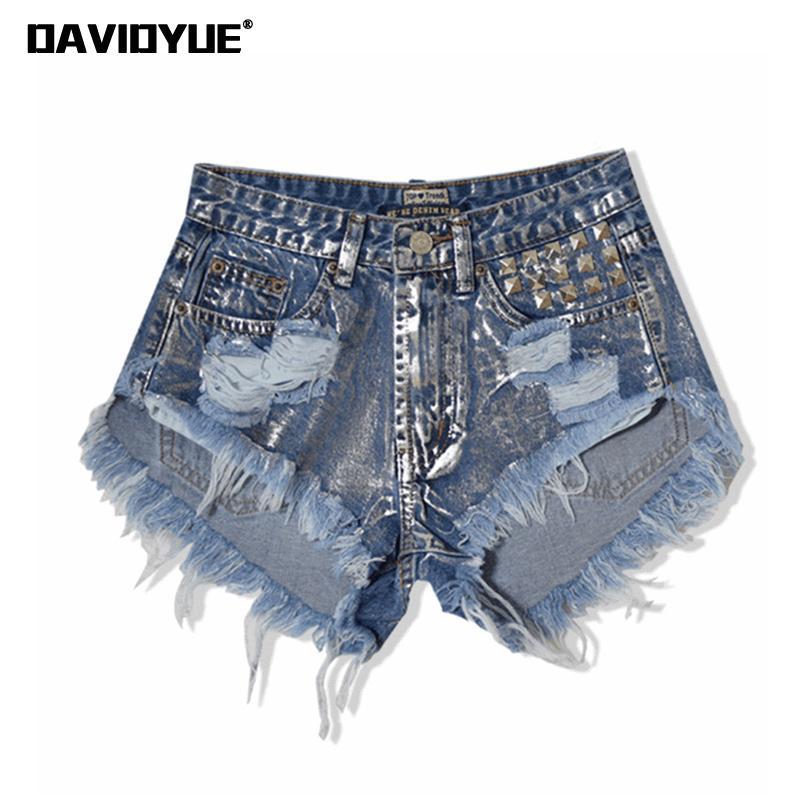 2019 summer tassel women jeans shorts vintage punk sliver rivet ripped denim women shorts Street fashion high waist shorts