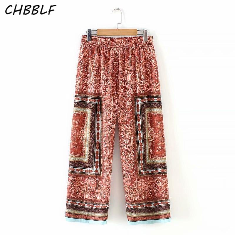 CHBBLF women vintage print   wide     leg     pants   elastic waist female casual chic long trousers   pants   XSZ19037