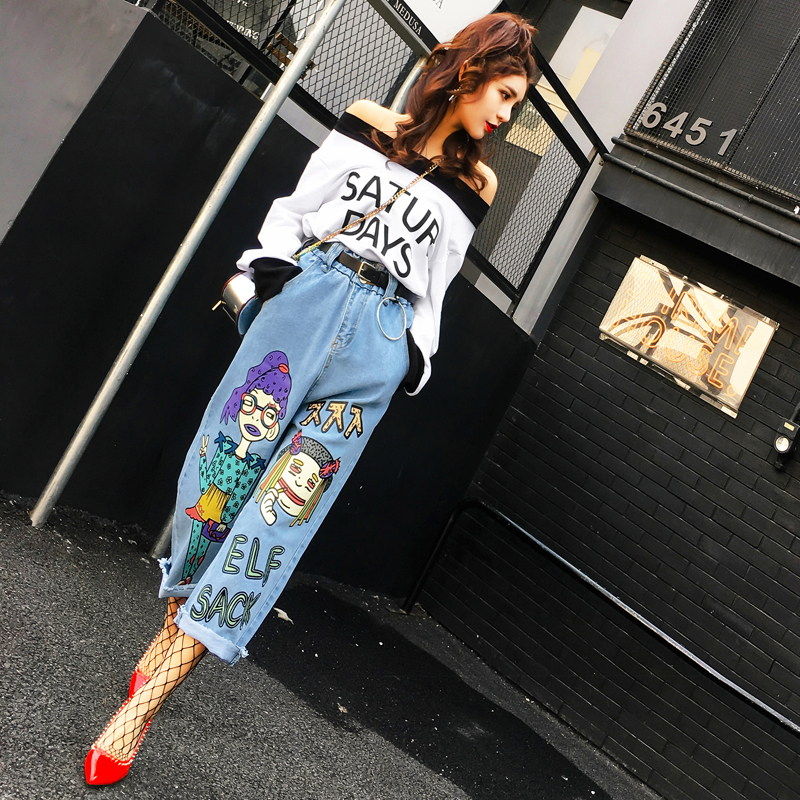 Women Jeans Sale American Apparel 2017 Spring New Cartoon Printing Casual Cowboy Wide Leg Pants Female Loose Waist High Nine wholesale new elastic waist pants and lady haren ol nine zengcheng women s casual loose jeans