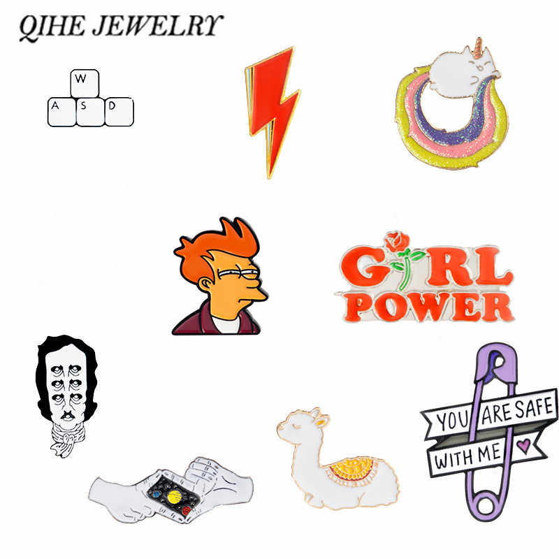 QIHE JEWELRY Cartoon pins and brooches Keyboard,Galaxy,Girl Power,Frog,Llama,Animal Badges Lapel pin collection