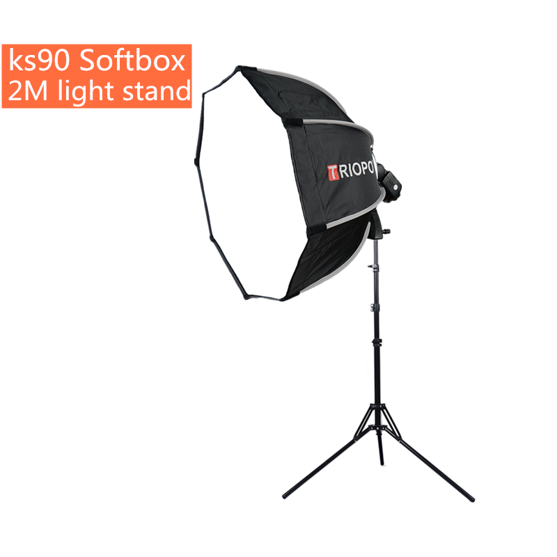 TRIOPO ks90 90cm Flash Speedlite Softbox Portable Outdoor Octagon Umbrella Softbox With 2m light stand for