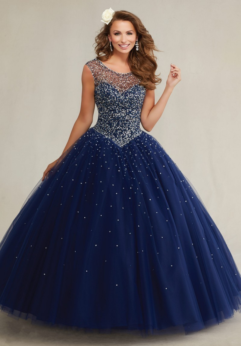 Plus Size Masquerade Ball Gowns Puffy Sweet 16 Navy Blue Quinceanera ...