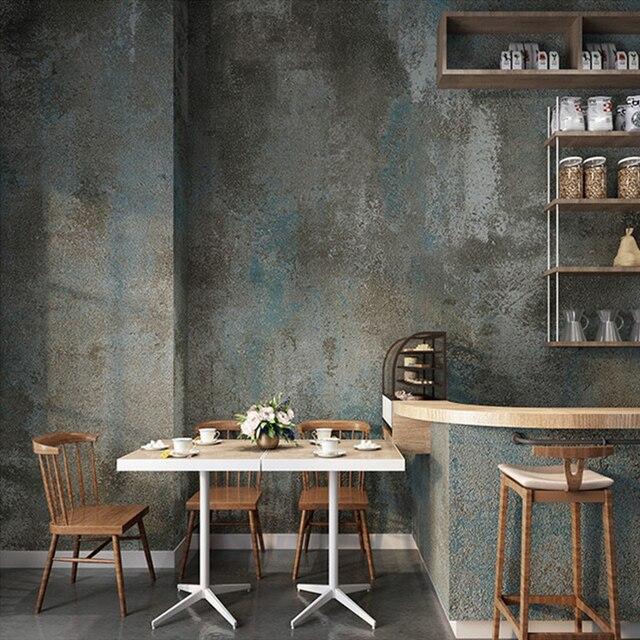 Papel tapiz De PVC para sala De estar, Papel tapiz 3D Retro gris cemento para restaurante, café, Papel De pared impermeable De Color liso, Papel De decoración Vintage