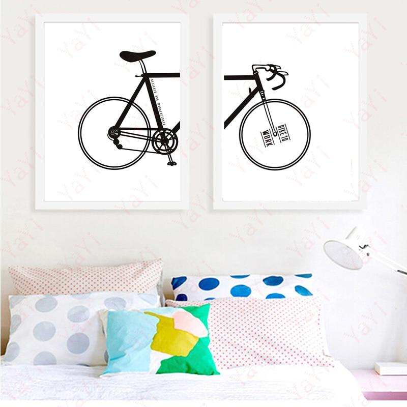 2017 moderne Nordic Wandmalerei Schwarz Weiß Fahrrad Kunstdruck ...