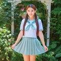 Uniformes de La Escuela Secundaria Japonés Marinero Traje de dos piezas Conjunto de Algodón Suave JK Uniforme Top + Falda Traje de Estudiantes ropa S, M, L, XL