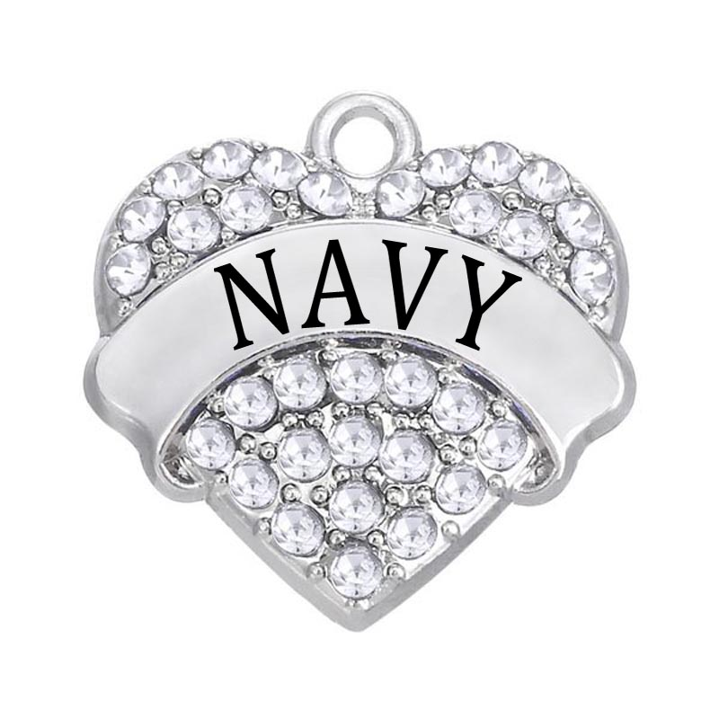 DOUBLE NOSE 30 Pieces A Lot New Fashion Hot Sale Clear Crystal Heart Navy Charm For