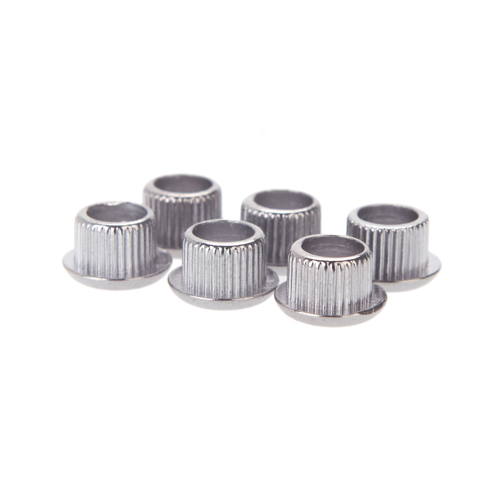 2017 Wholesale 6pcs/pack Silver Ferrules Nickel Plating Guitar Tuner Conversion Bushings Adapter For 8mm Shaft