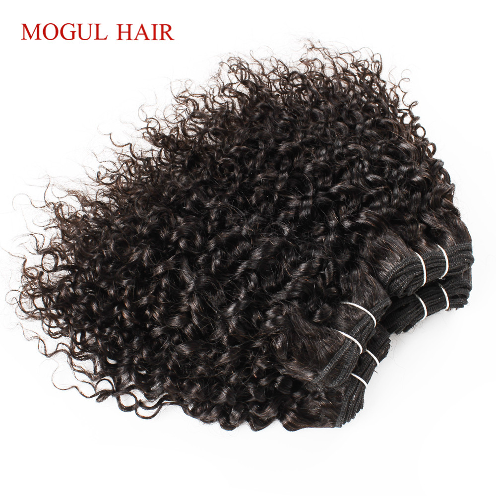 MOGUL HAIR 4 Bundle with Closure Jerry Curly Bundles With Closure 50g/pc Brazilian Remy Human Hair Natural Color-in 3/4 Bundles with Closure from Hair Extensions & Wigs    3