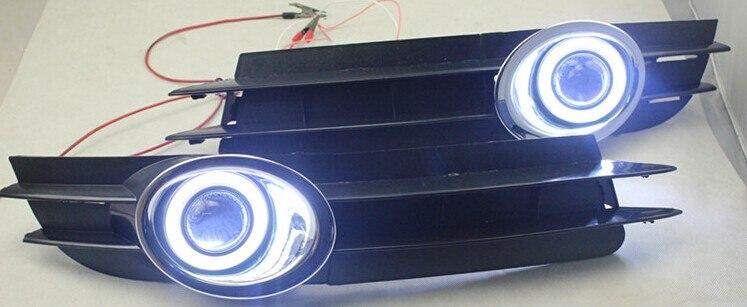 EOsuns COB angel eye led feux de jour DRL + feu de brouillard halogène + lentille de projecteur pour Audi A6 A6L C7 2005-2008