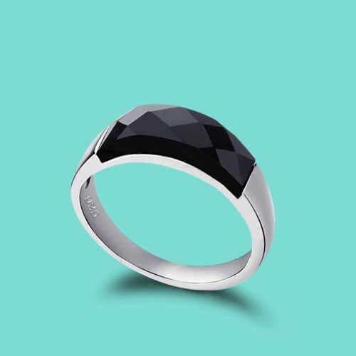95ceebe3e Anillo de Plata de Ley 925 para mujer anillo de plata obsidiana con  incrustaciones de anillo