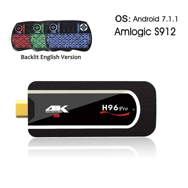 H96 pro Mini PC Amlogic S912 Octa-core android 7.1 tv box 2.4G WIFI BT4.1 4K H.265 Android HDMI TV Stick+i8 Backlight keyboard android tv box h96 pro plus 1pcs i8 keyboard amlogic s912 3gb 32gb quad core 4k wifi h 265 mini pc smart tv box set top box