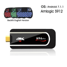 H96 pro Mini PC Amlogic S912 Octa-core android 7.1 tv box 2.4G WIFI BT4.1 4K H.265 Android HDMI TV Stick+i8 Backlight keyboard