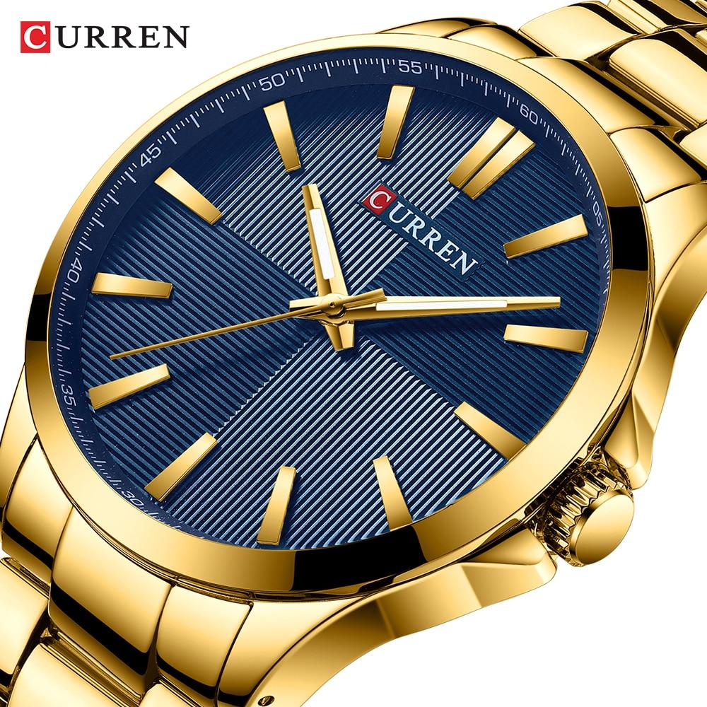 Homens Relógios de Luxo Da Marca CURREN Banda de Aço Inoxidável de Ouro Relógio de Quartzo Dos Homens de Luxo Homem de Negócios Relogio masculino À Prova D' Água