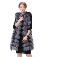 Valpeak Real Silver Fox Fur Vest Genuine Leather Stripe Long Sleeveless Warm Fur Coat Women Winter 2018 Natural Fox Fur Vest