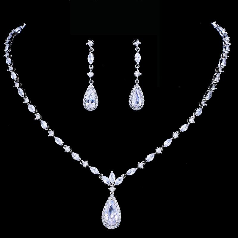 Emmaya Brand Luxury Sparkling Cubic Zirconia Crystal Zircon Flower Necklace and Earring Wedding Bridal Jewelry Sets
