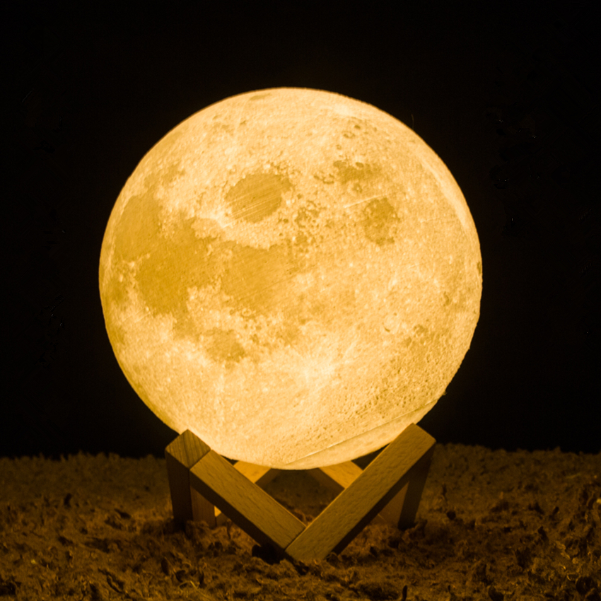 Rechargeable 3D Print Moon Lamp Dimmable