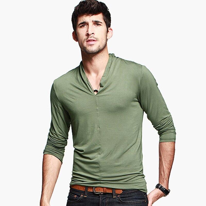 Spring Fall Fashion Mens Green Black Long Sleeve Slim Fitted V ...