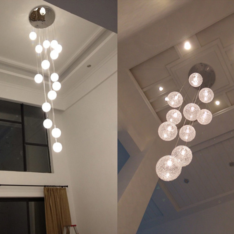 Modern large long stair e14 round ball chandeliers 10 lights lustres modern large long stair e14 round ball chandeliers 10 lights lustres de teto glass globle pendant lamps light fixture luminaire in chandeliers from lights mozeypictures Gallery