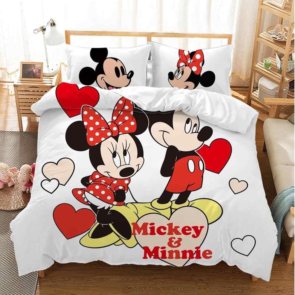 Disney Del Fumetto di Mickey Minnie Set di Biancheria da Letto Bella Coppia Queen King Size Set di Biancheria da Letto per Bambini Copripiumino Cuscino Custodie