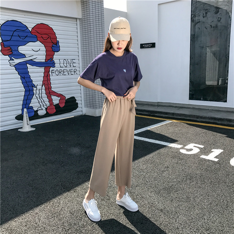 19 Women Casual Loose Wide Leg Pant Womens Elegant Fashion Preppy Style Trousers Female Pure Color Females New Palazzo Pants 9
