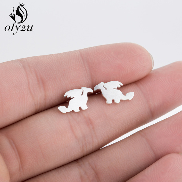oly2u New Small Dragon Silhouette with Wings Animal Shaped Stud Earrings  for Women Handmade Animal Earring Jewelry Gifts S077-in Stud Earrings from  ...