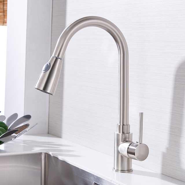 Kitchen Faucets Silver Single Handle Pull Out Kitchen Tap Single Hole Handle Swivel 360 Degree Water Mixer Tap Mixer Tap 408906 3