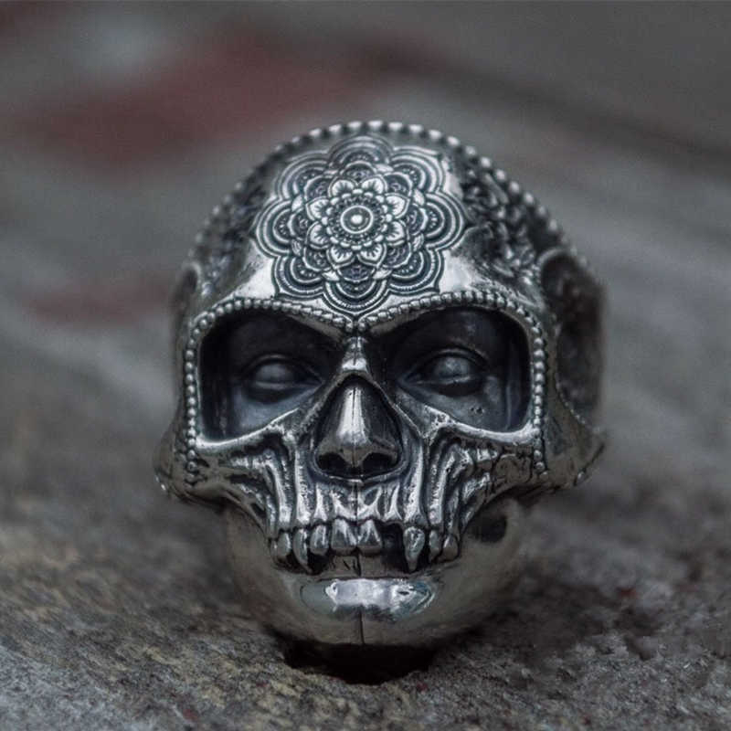 Unique Silver Color 316L Stainless Steel Heavy Sugar Skull Ring Mens Mandala Flower Santa Muerte Biker Jewelry
