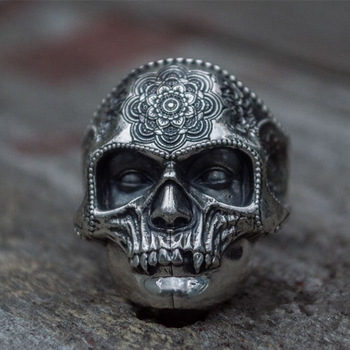 Unique Silver Color 316L Stainless Steel Heavy Sugar Skull Ring Mens Mandala Flower Santa Muerte Biker Jewelry high quality punk harley jewelry boys mens chain skull black silver tone biker motorcycle link 316l stainless steel bracelet