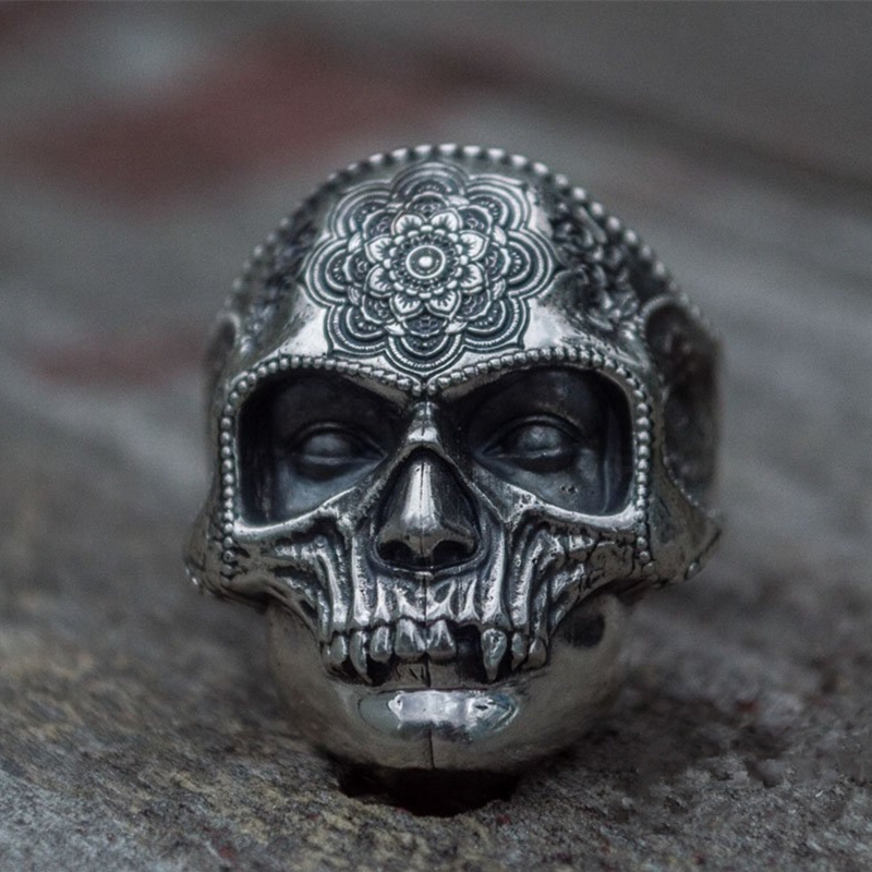 Unique Silver Color 316L Stainless Steel Heavy Sugar Skull Ring Mens Mandala Flower Santa Muerte Biker Jewelry(China)