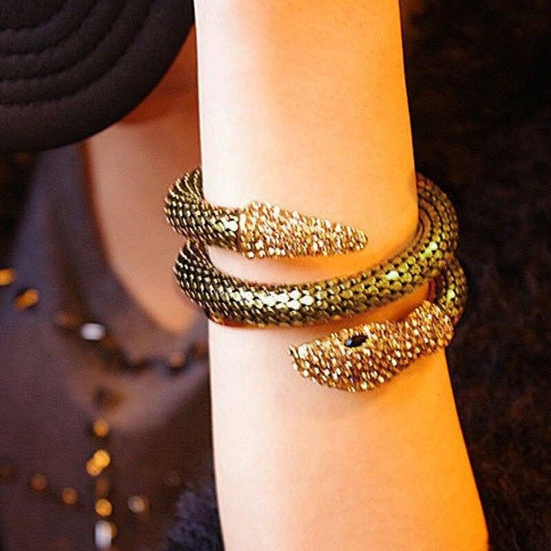 Snake Bracelet for Women inlay Crystal Silver/Gold Color Adjustable Bracelet Bangle Female bangles gifts