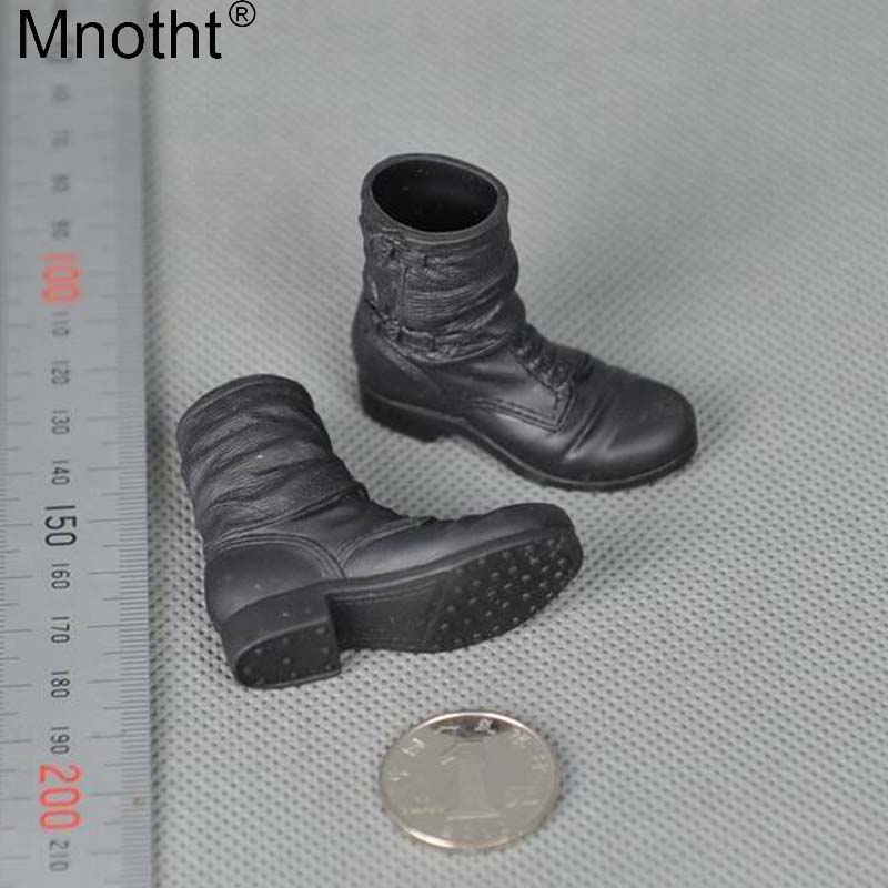 Mnotht 1/6 Male Black Correspondent Boots Shoes Accessory Eggings Boots Model No Feet Inside For 12'' Soldier Toy Action figure