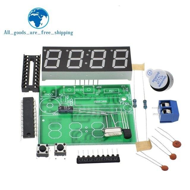 61b6c2cfe505 TZT AT89C2051 pantalla LED Digital 4 Bits reloj electrónico producción  electrónica Suite DIY Kit 0