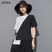 XITAO False 2 Piece Splice Women Tshirt Summer High Street Style Irregular Bandage Harajuku Tops Casual Hot Women Clothes ZQ1495