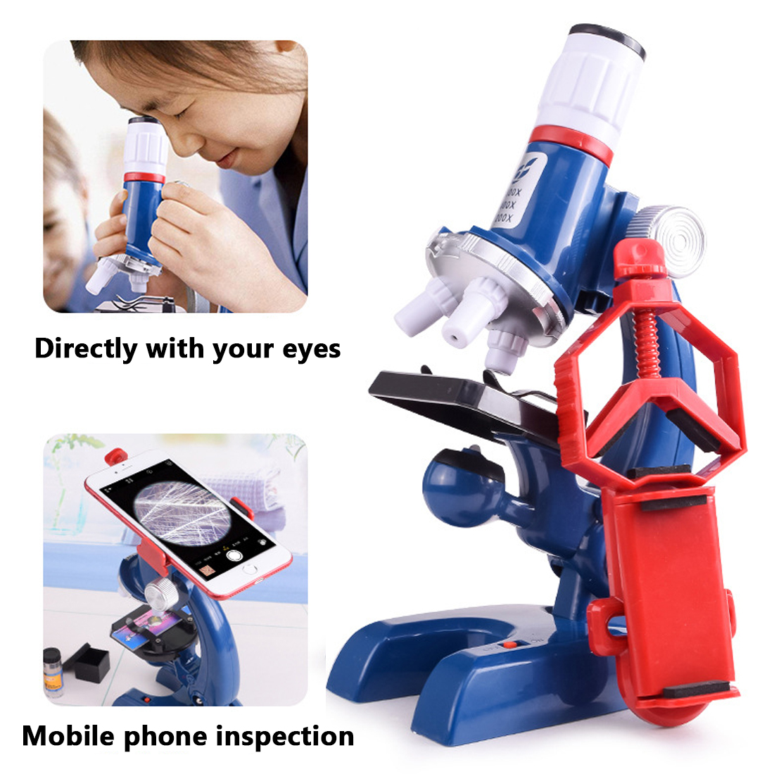 все цены на Biological Microscope 1pc 100X-1200X Home School Educational Toy Gift For Kids Microscope Kit Lab LED Beneficial microscopes онлайн