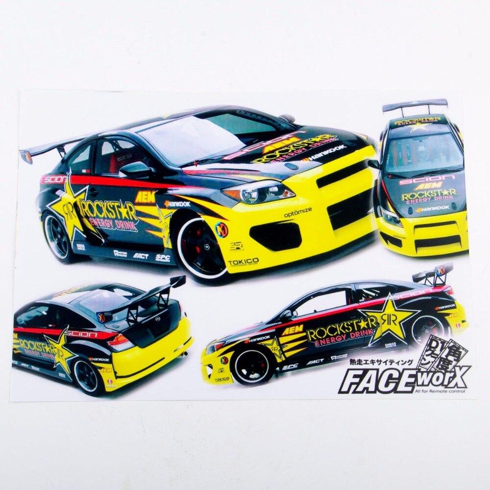 Race car sticker design - 1 10 Rc Racing Drift Car Body Rockstar Dirst Adhesive Decals Sticker For Rc Car