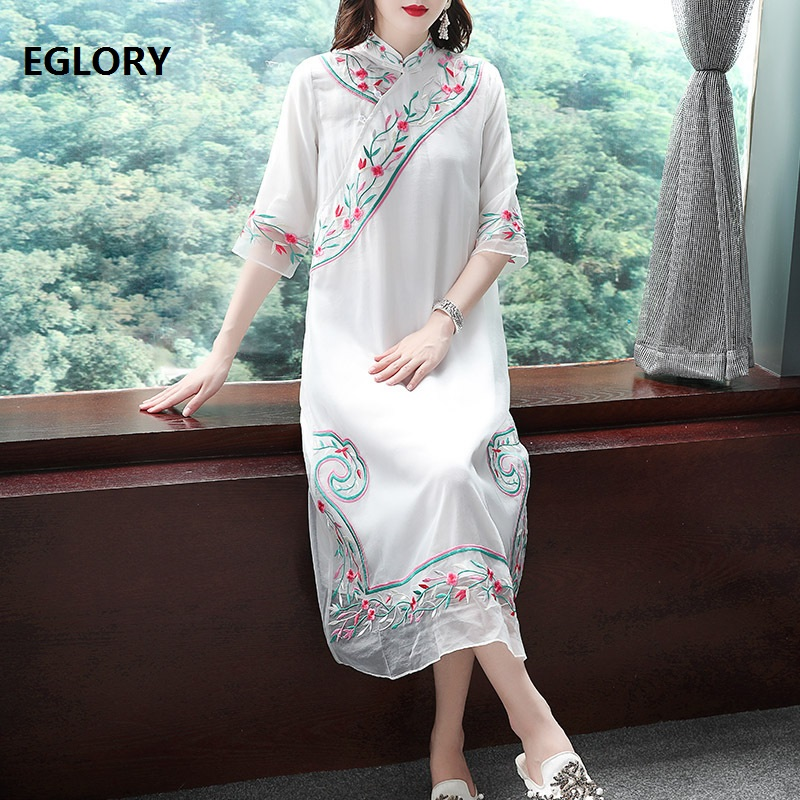 Top Quality Brand Chinese Dress 2019 Summer Vintage Party White Pink Dress Women Organza Embroidery 3/4 Sleeve Mid Calf Dress