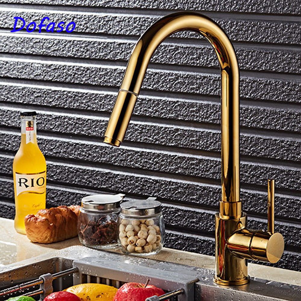 Dofaso Luxury bath sink faucet Gold Kitchen Faucet Pull Out Tap Sprayer Swivel cold and hot water tap pull down faucets ulgksd kitchen faucets pull out ledsprayer vessel sink faucets 360 swivel cold and hot water kitchen mixer tap