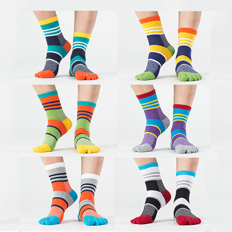Fashion Brand Summer Winter New Mens Wedding Socks Patchwork Colorful Five/5 Finger Cotton Socks Fun Toe Dress Socks Male