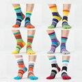 Invierno de los nuevos hombres de moda marca summer happy socks remiendo colorido de cinco/5 dedo dedo del pie calcetines de algodón del calcetín de los hombres transpirable