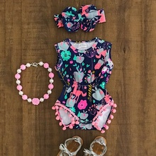 Newborn Baby Boy Girl Unicorn Flower Romper Bodysuit Jumpsuit Outfit Clothes 0-18M